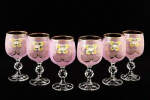 Bohemian Crystal Enameled Colored Glasses, Vintage Pink Wine Goblets, Set of 6