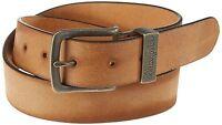 Wrangler New Men's Metal Loop Leather Buckle Belt Cognac Beige Tan Brown