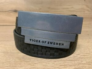 "TIGER OF SWEDEN Men's Genuine Leather Belt Size 85cm W31""-W36"" Metal Buckle k10"