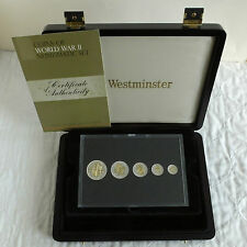 COINS OF WORLD WAR II 5 COIN SILVER SET PLATED IN SILVER & GOLD - boxed/coa