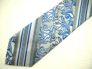 """Stacy Adams Mens Necktie Tie Grey Blue Striped Paisley Microfiber 60"""""""