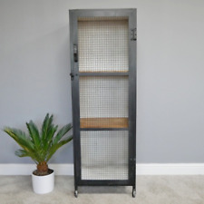Tall Iron Cabinet Wooden Shelves Display Furniture With Wheels Cupboard Unit New