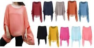 Ladies Womens Italian Lagenlook Silk Batwing Top Plain Tunic Quirky Blouse Plus