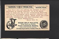 "AKRON,OHIO 1890 GPC, ILLUST ADVT. ""AKRON IRON CO.""  WOOD SPLIT PULLEYS.."