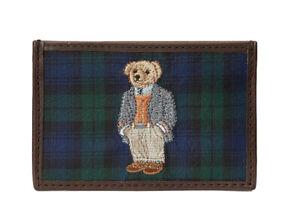 Polo Ralph Lauren Leather Silk Polo Bear Tartan Card Case Wallet New