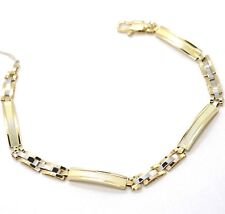 Bracelet Yellow Gold White 18K 750,Plate Worked,Inserted Alternating