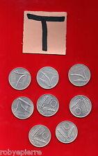 lotto 10 lire 8 monete ITALIAN COINS 1955 1973 1975 1977 1979 1980 1981 1982