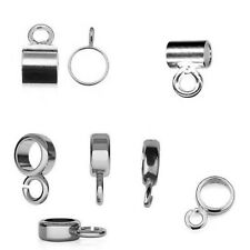 925 Sterling Silver BEAD CARRIER ring and tube - wholesale hanger finding