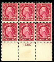 USAstamps Unused VF US Washington Fresh Plate Block Scott 554 OG MNH