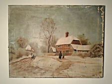 Antique Oil Painting Snow Street Scene Houses Horse Wagon Man Woman