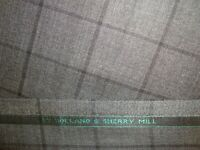 """2 yd HOLLAND SHERRY WOOL FABRIC Super Fine 120s worsted 9 oz SUIT Gray 72"""" BTP"""