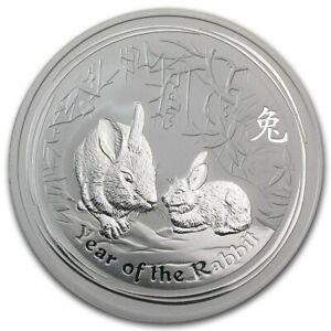 2011 Australia Lunar Year of the Rabbit 2 oz Silver Coin ~~Perth Mint in Capsule