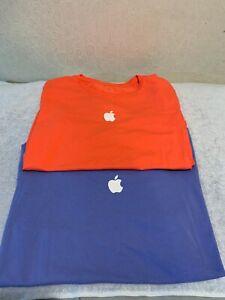 Lot of 2 Apple Store Employee T-Shirts Size MEDIUM Adult Orange + Purple EUC