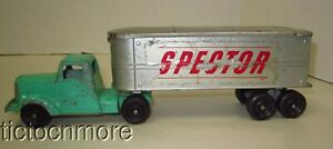 VINTAGE TOOTSIETOY SPEcTOR DELIVERY TRAILER TRUCK GREEN CAB MODEL CAR TOY