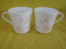 Corelle Peach Floral CUPS LOT of TWO 2 have more items to set