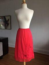 Flawless Vtg 50s Top Form Red Nylon & Lace Half Slip Skirt Lingerie Sz S Mint!