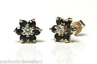9ct Gold Sapphire and CZ cluster Stud earrings Gift Boxed Made in UK Christmas