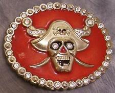 Pewter Belt Buckle novelty Pirate Skull Head  NEW