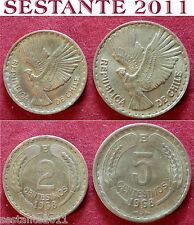 B46 CHILE CILE 2 + 5 CENTESIMOS CENTESIMI 1968 KM# 193 + 190
