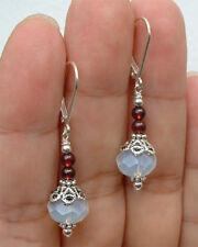 Beautiful Handmade Natural Moonstone Ruby Gems Dangle/Drop Leverback Earrings