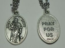 """Updated St Rocco Roch Holy Medal on 24"""" Chain - Patron of Dogs & Knee Ailments"""
