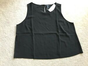 NWT NEW Eileen Fisher ROUND NK SHELL sleeveless top 2X Woman 100% silk black