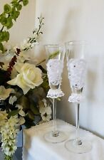 Bride & Groom Lace Heart Wedding Toasting Flutes Handcrafted Glasses Pearl Love
