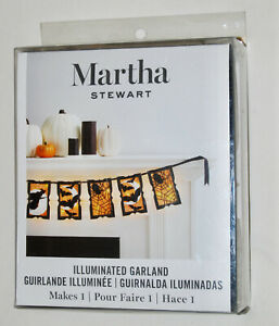 New! Martha Stewart Black Halloween Illuminated Garland Kit