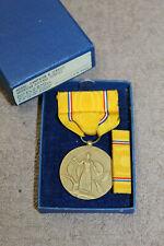 Original WW2 American Defense Medal w/Ribbon (PB) & Ribbon Bar 1945 d. Boxed Set
