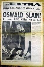 Nov 25 1963 Los Angeles Times EXTRA newspaper Kennedy LEE HARVEY OSWALD MURDERED
