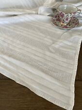 New listing Vintage Mid Century White Cotton Striped Waffle Weave Tablecloth 🕯