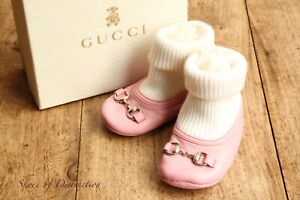 Gucci Baby Pink Leather Babies Pram Shoes UK  1 (3 - 6 Months)  EU 17 US 2