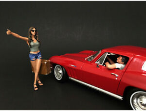 Hitchhiker 2 Piece Figure Set For 1/18 Scale Model Cars By American Diorama
