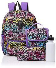 NEW Accessories 22 Big Girls Splatter Zebra 5pc Backpack Set, Multi-Color