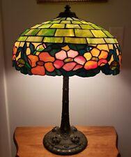 New ListingExceptional Wilkinson Arts & Crafts Floral Leaded Slag Glass Lamp - Handel Era