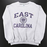 Vintage RUSSELL East Carolina Grey American Crew Neck Sweatshirt Mens L