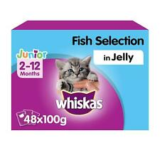 More details for 48 x 100g whiskas 2-12 months kitten wet cat food pouches mixed fish in jelly