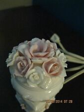Vintage  I.W. Rice - Porcelain Night Light w/White & Pink Roses  -  Japan  5""