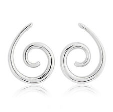 Ladies Spiral Sterling Silver Stud Earrings with Butterfly Clasps