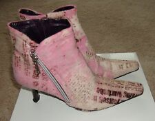 Donald J Pliner Pink Newspaper Print Calf Hair Leather SARRA Ankle Boots 6 M