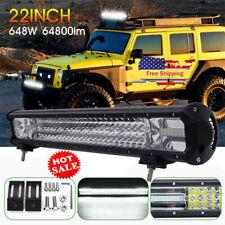 "22"" 648W LED Work Light Bar Tri-Row Flood Spot Driving Lamp Car SUV Truck"