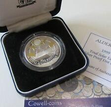 1999 ALDENEY £5 FIVE Pounds Silver Proof Crown Coin SUN ECLIPSE BOX/COA