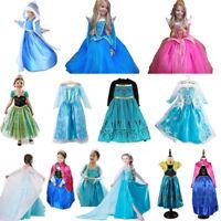 Kid Girl Elsa Anna Frozen Fancy Dress Cosplay Costume Princess Aurora Party 3-8Y