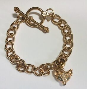 FOSSIL CHAIN LINK BRACELET FOX CHARM STAINLESS STEEL COPPER TONE CRYSTAL EYES