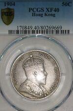*Rare* PCGS & GBCA x 2, 1904 & 1902 Hong Kong 50 Cents Silver Coins Set