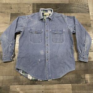 VTG LL Bean Plaid Flannel Lined Denim Shirt USA Made Men's Size Large Hiking