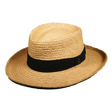 SCALA ** RAFFIA GAMBLER HAT * MENS CRUSHABLE SUN SHADY OUTBACK STRAW FEDORA GOLF