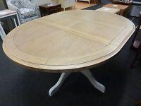 New Light Grey & Oak Round Pedestal Extending Dining Table *Furniture Store*