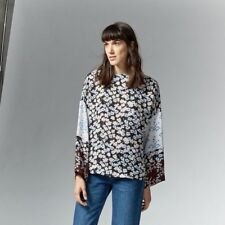 Warehouse Sweet William Print Top Black Size UK 12 rrp £45 DH084 GG 09