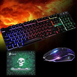 Gaming Keyboard and Mouse Set Rainbow LED Illuminated USB For PC Laptop PS4 Xbox